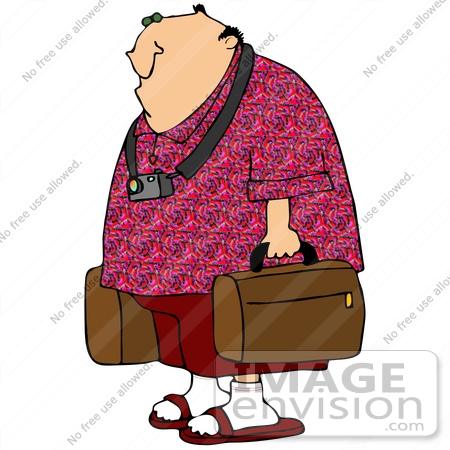 Clip Art Graphic Of A Caucasian Tourist Guy With A Camera Around His