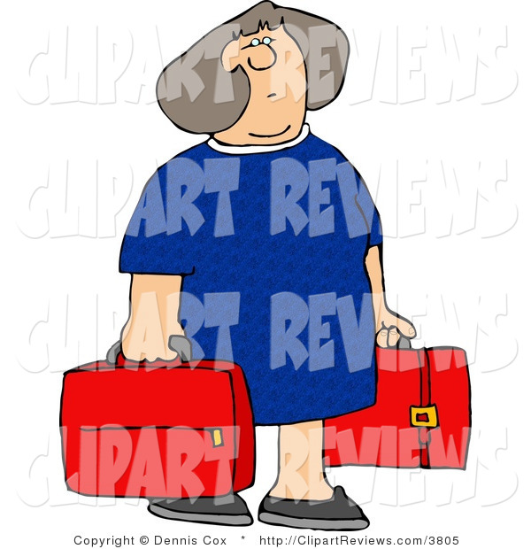 Clip Art Of A Gray Haired Woman Carrying Two Red Suitcases By Djart
