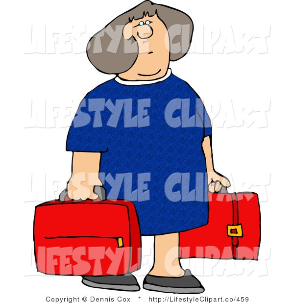 Clip Art Of A Woman With Two Red Suitcases By Djart    459