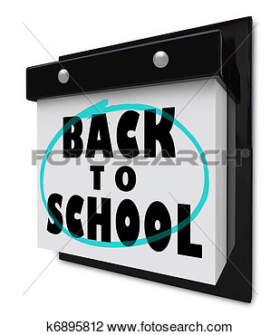 Clip Art Of Back To School   Wall Calendar Reminder Classes Starting