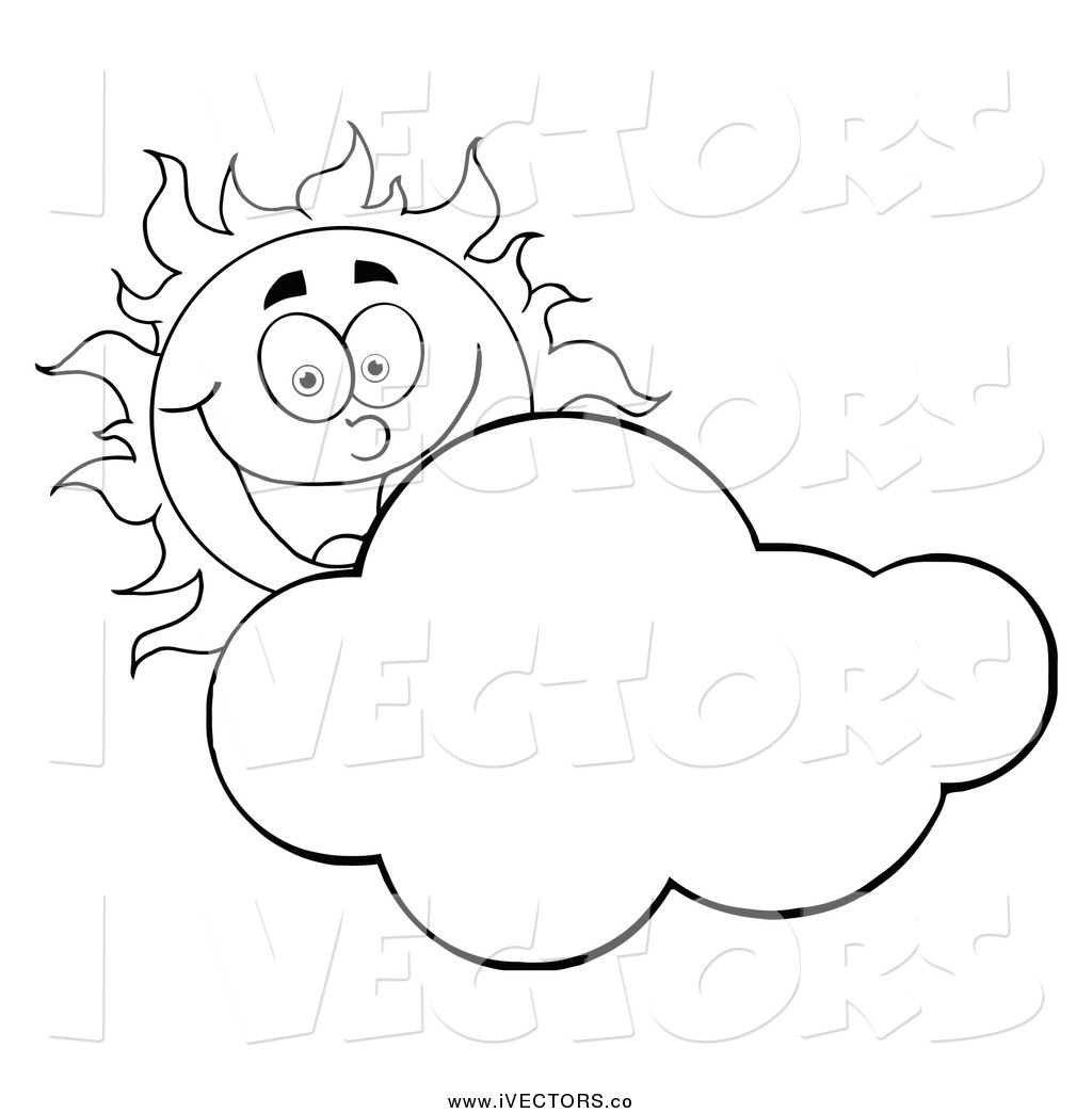 Clipart Black And White Vector Graphic Of A Happy Black And White Sun