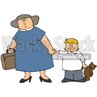 Clipart Illustration Of A Mother Carrying A Suitcase And Holding Hands