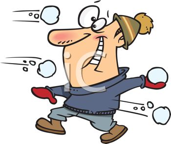 Clipart Image Of A Guy In A Snowball Fight   Winter Clipart