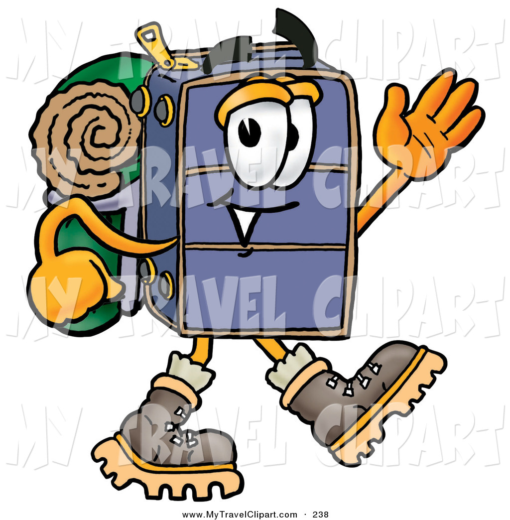 Clipart Of A Grinning Suitcase Cartoon Character Hiking And Carrying A