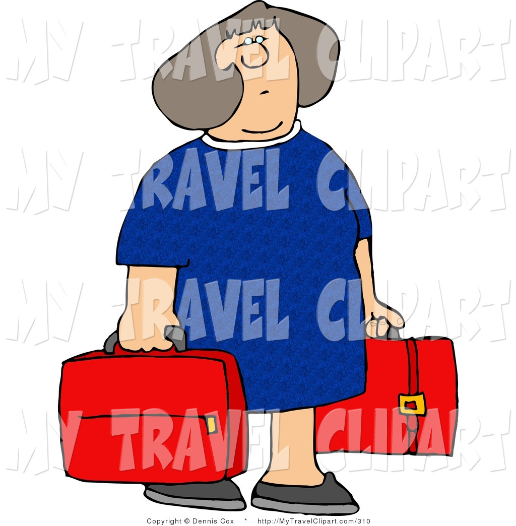 Clipart Of A Woman In Blue Carrying Two Red Suitcases By Dennis Cox