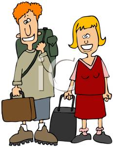 Couple Carrying Luggage   Royalty Free Clipart Picture