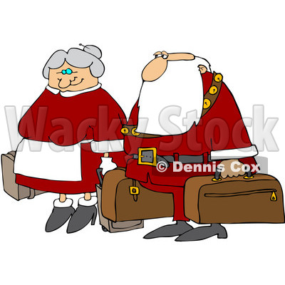 Free  Rf  Clipart Illustration Of Santa And The Mrs Carrying Luggage