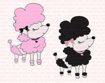 French Poodle Clipart French Poodle Clip Art   Pink