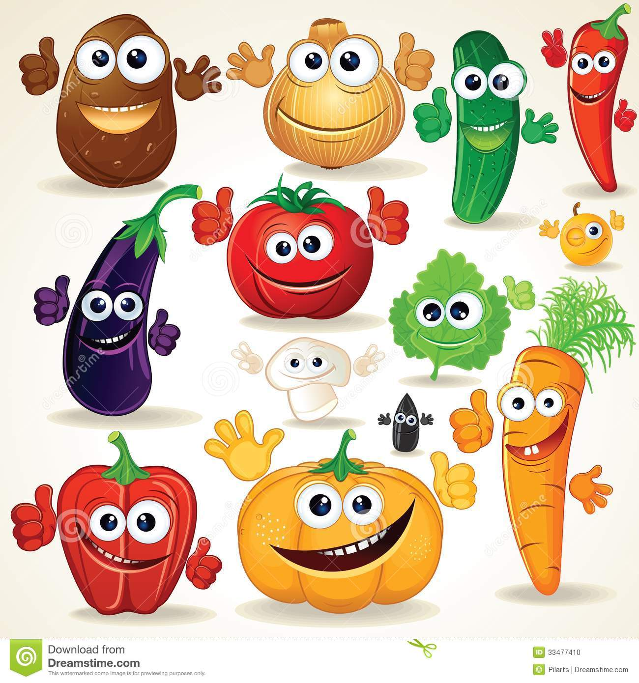 Funny Cartoon Vegetables Clip Art Stock Photo   Image  33477410