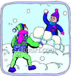 Kid Throwing Snowball Clip Art