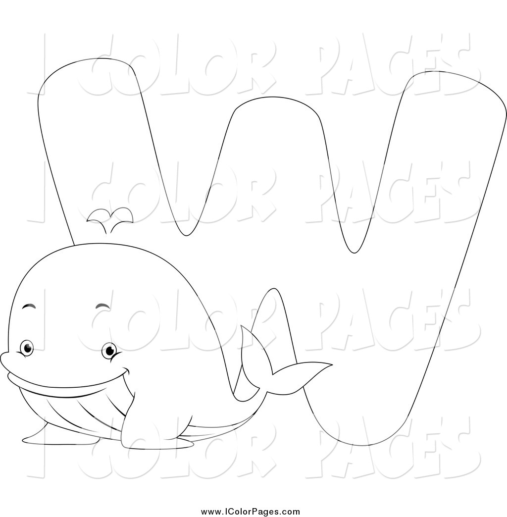 Larger Preview  Vector Coloring Page Of A Black And White W Is For