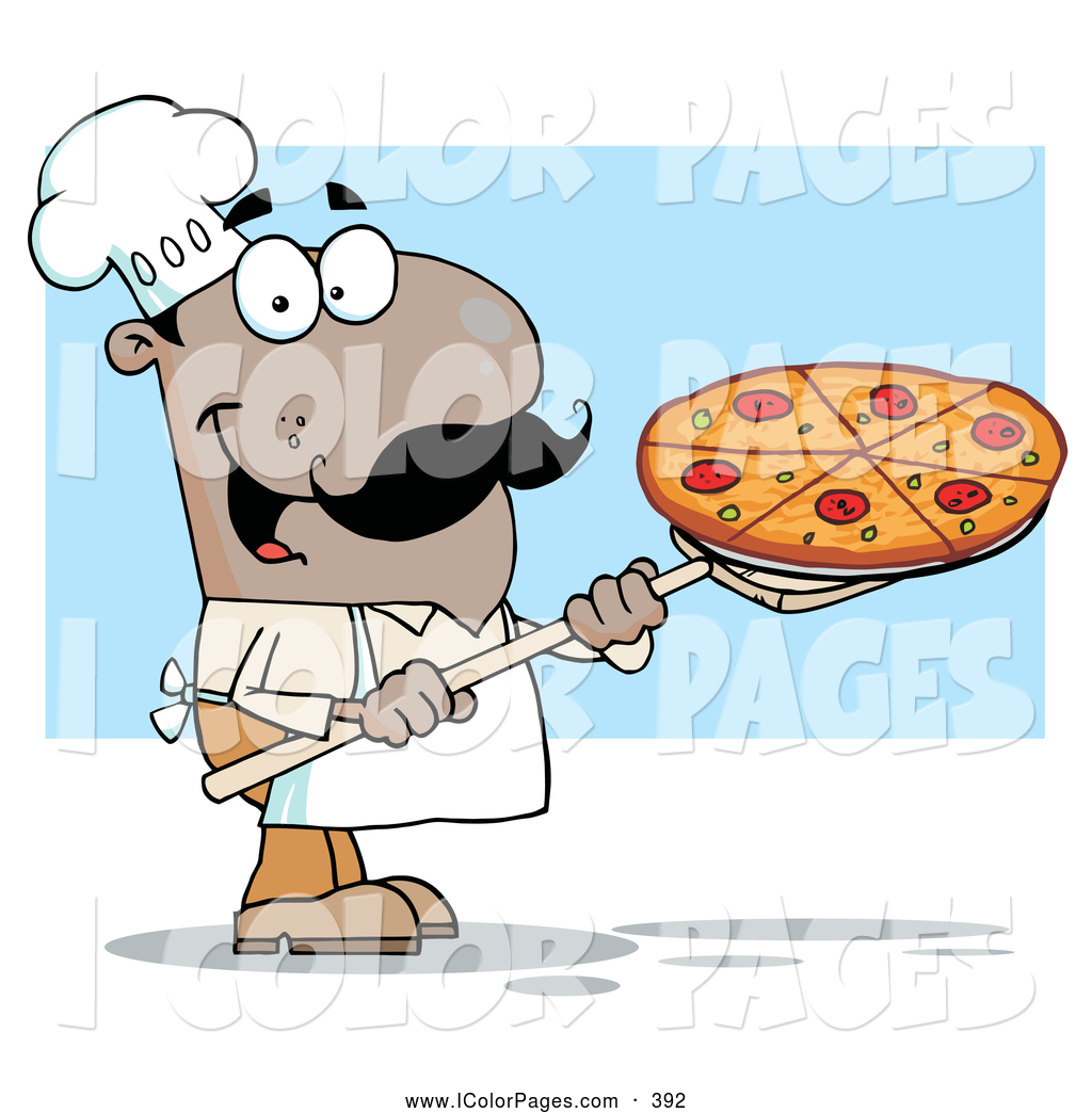 Larger Preview  Vector Coloring Page Of A Happy Hispanic Pizzeria Chef