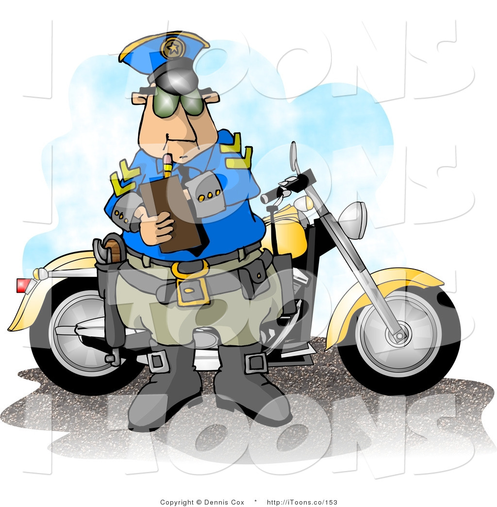 Motorcycle Policeman Filling Out A Traffic Citation Ticket Form After