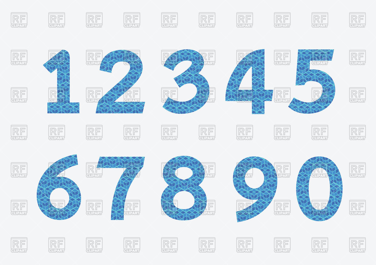 Numbers Set In Blue Color 89409 Download Royalty Free Vector Clipart