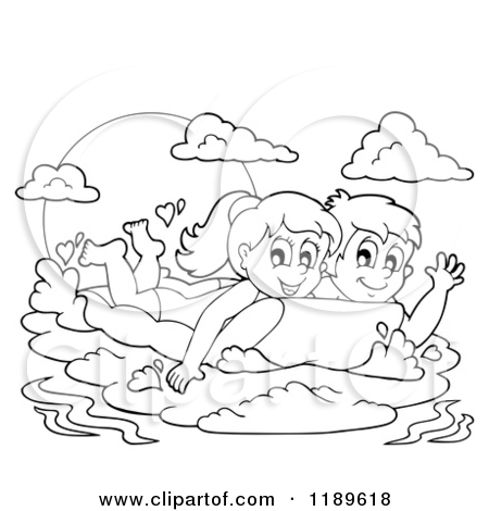 Outlined Happy Children Swimming On An Inflatable Mattress