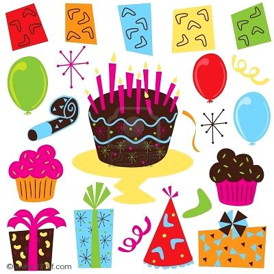 Party Clipart With Birthday Cake Cupcakes Balloons Streamers Party