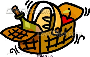 Picnic Basket With Food In It Vector Clip Art