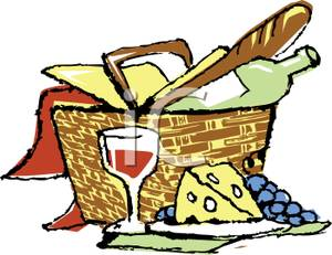 Picnic Clipart Picnic Basket With Wine And Cheese Royalty Free Clipart