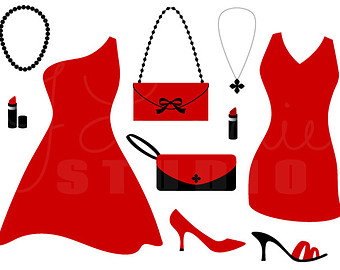 Prom Fashion Show Clip Art Little Red Dress Digital