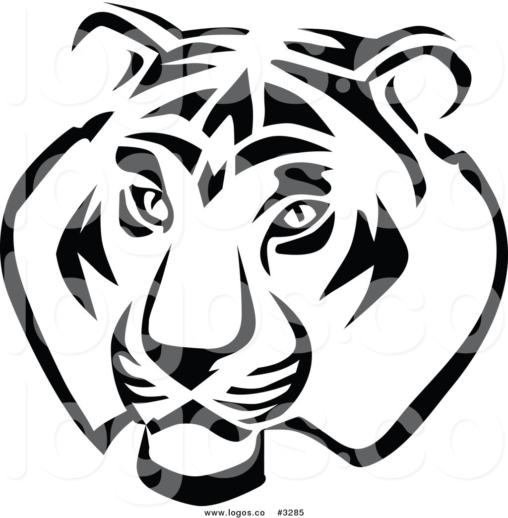 free black and white tiger clipart - photo #16