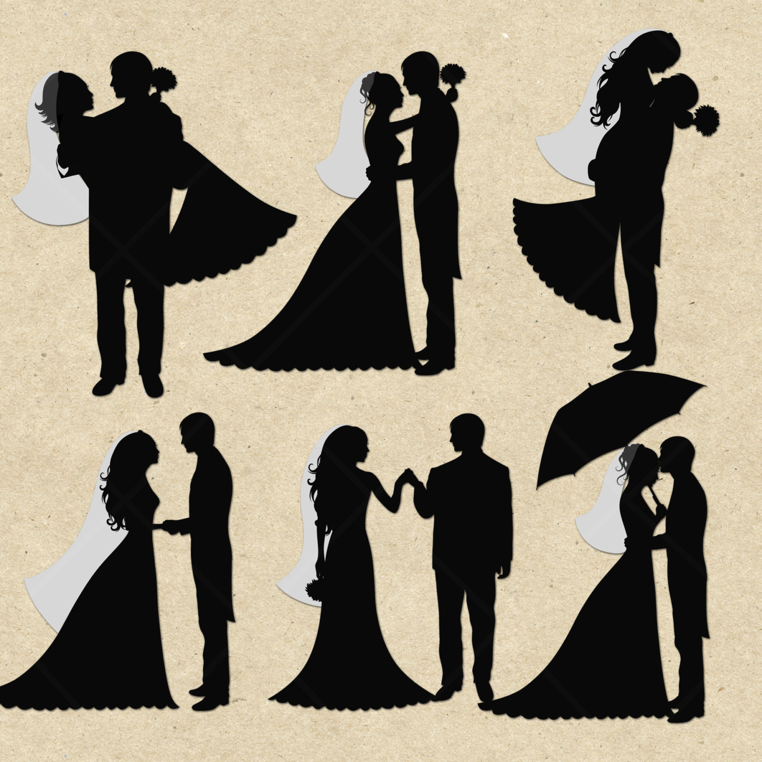 Bride And Groom Silhouette Clipart