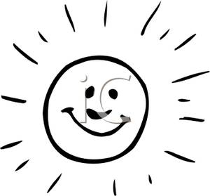 Smiling Sun Black And White Clipart - Clipart Suggest