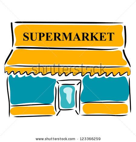 Cartoon supermarket building