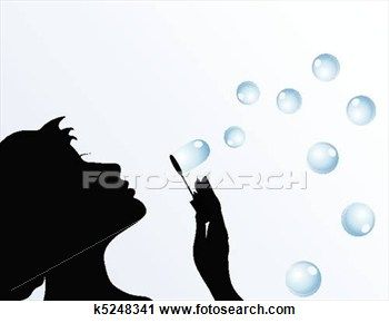 The Girl Starts Up Soap Bubbles  A Vector Illustration View Large