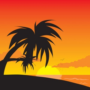 Tropical Clipart Image   Tropical Sunset On The Beach With Palm Trees