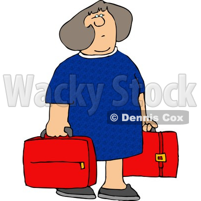Woman Carrying Two Red Suitcases Clipart   Djart  4219