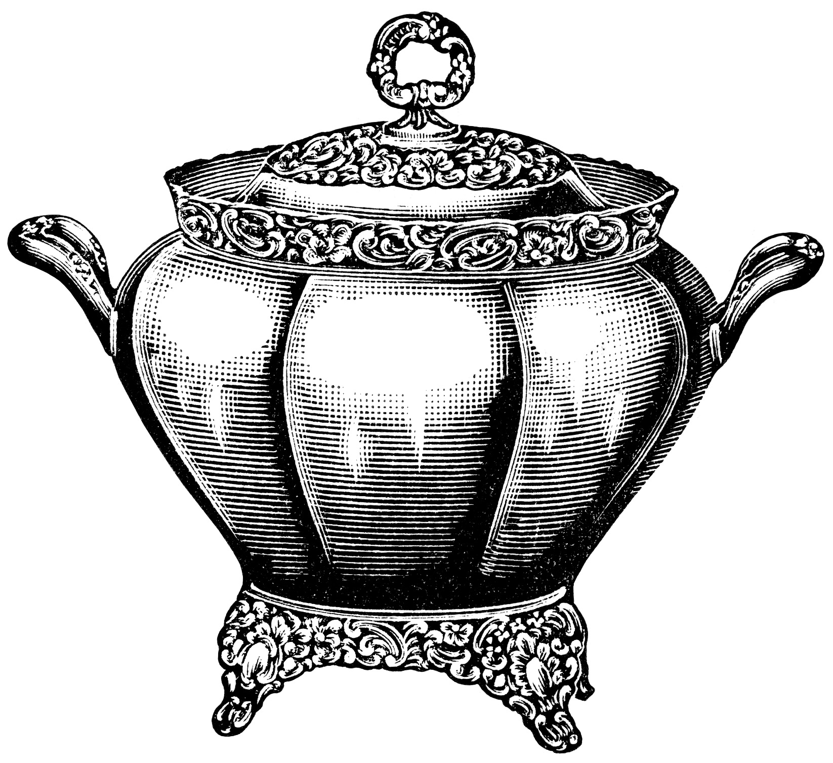 Black And White Graphics Free Vintage Kitchen Clip Art Soup Tureen
