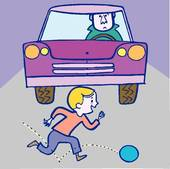 Boy And Ball Accident With Car   Clipart Graphic