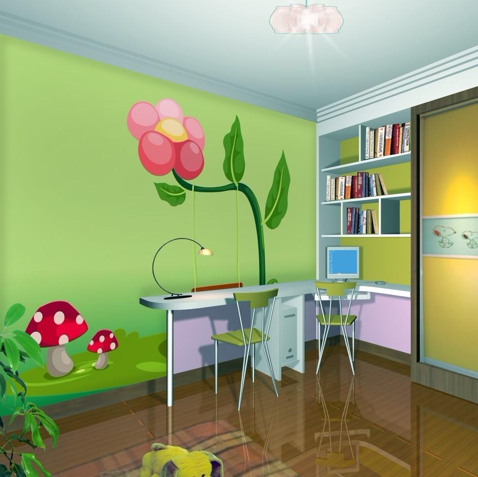 Cartoon Living Room Scene Three Dimensional 3d Wallpaper