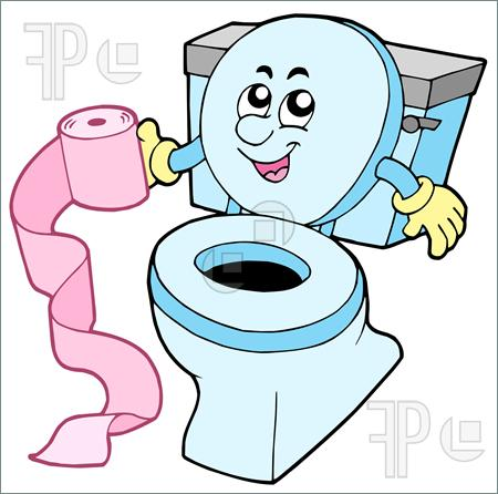 Cartoon Toilet On White Background   Vector Illustration