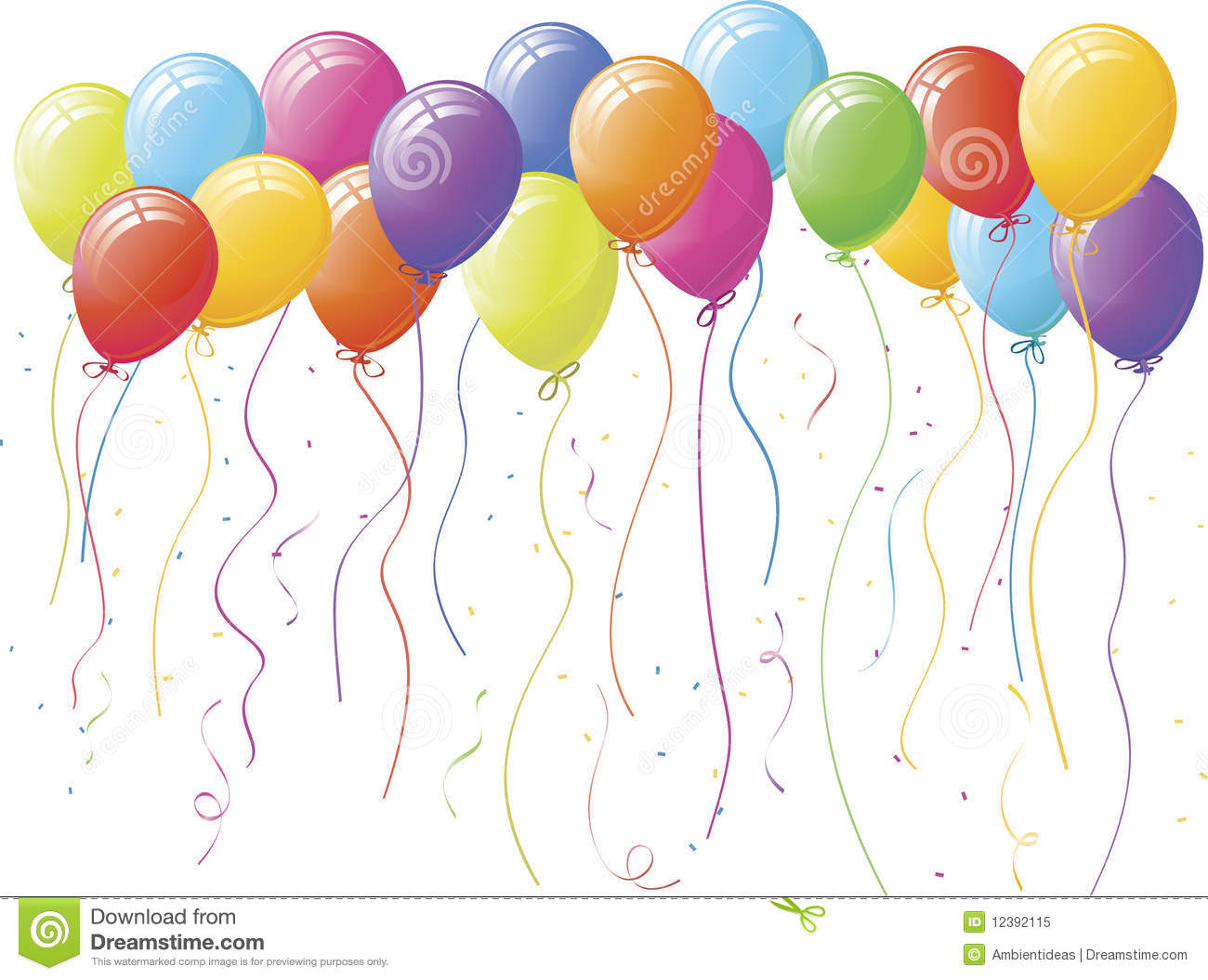 Confetti and balloons clipart party balloons and confetti 7xkepe clipart suggest