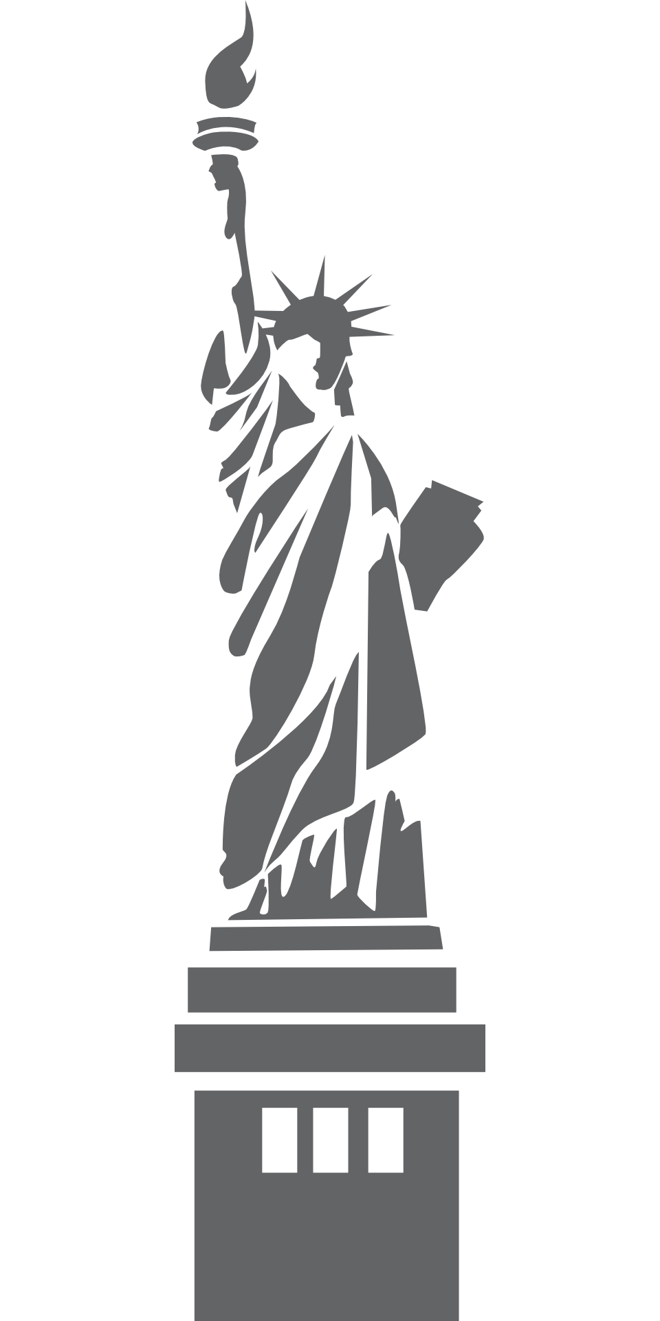 Statue of liberty silhouette clipart clipart suggest for Statue of liberty drawing template