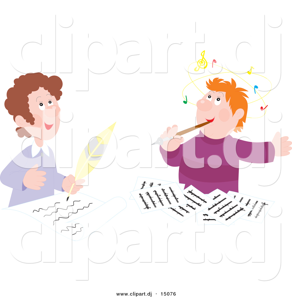 Vector Clipart Of A Cartoon Author And Composer Writing Music Together