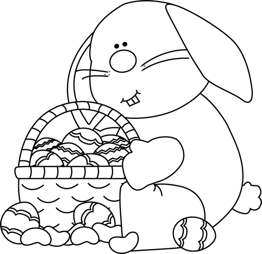 Black And White Bunny Sitting With An Easter Basket Clip Art   Black