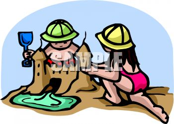 Building Sandcastles On The Beach   Royalty Free Clip Art Image