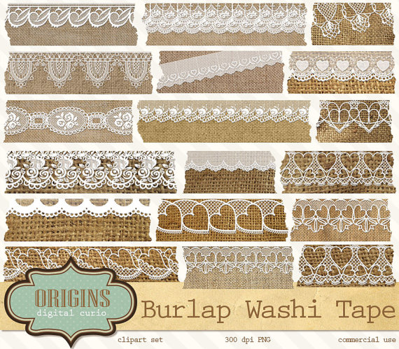 Burlap And Lace Digital Washi Tape   Shabby Chic Rustic Fabric Texture