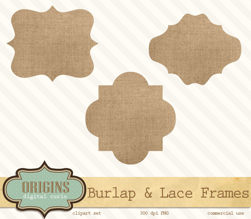 Burlap And Lace Frames Clipart   Objects On Creative Market