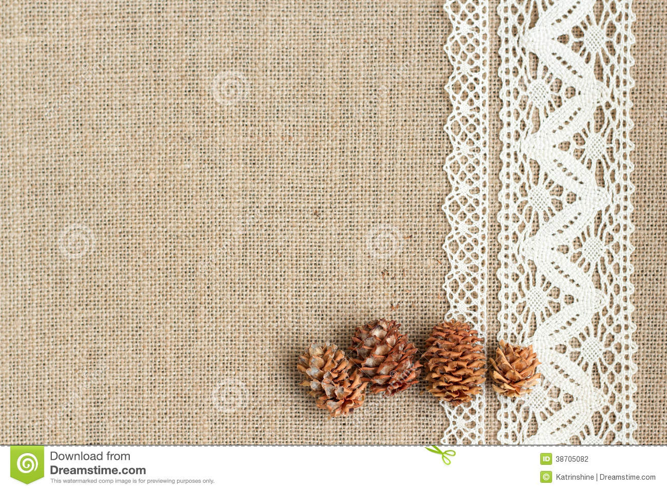 Burlap Background With Lace Stock Photography   Image  38705082