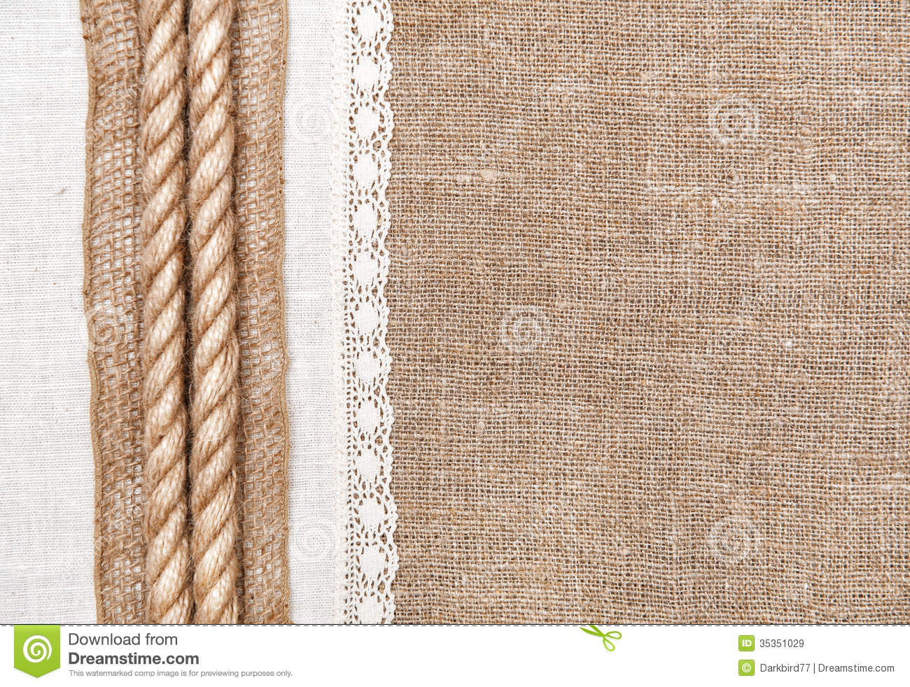 Burlap Background With Linen Cloth And Rope Royalty Free Stock Images