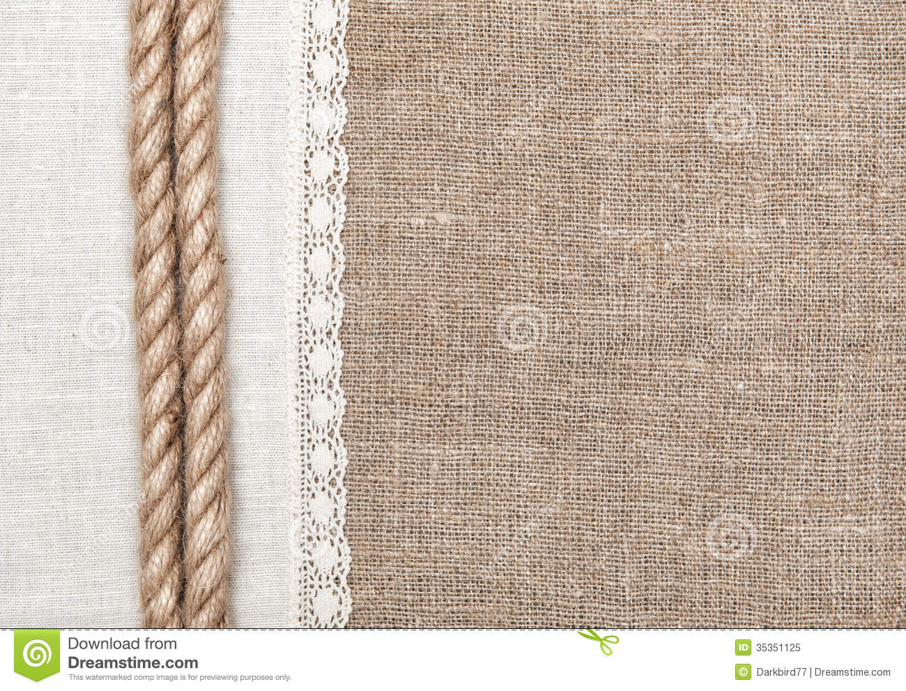 Burlap Background With Linen Cloth And Rope Royalty Free Stock Photo
