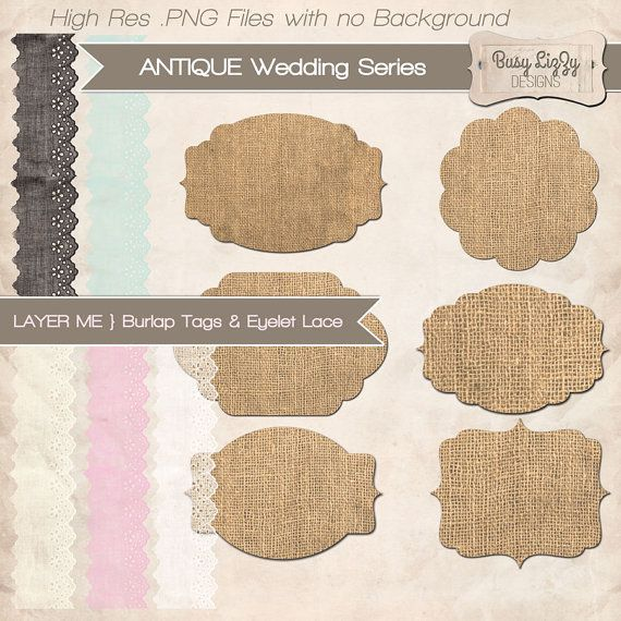Burlap   Eyelet Vintage Lace Tags  Png Clipart By Busylizzydesigns  3