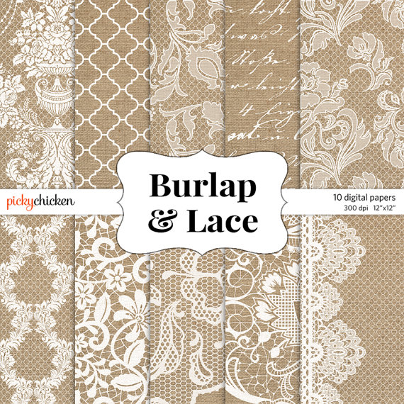 Burlap Wedding Paper Burlap   Lace Digital Paper By Pickychicken
