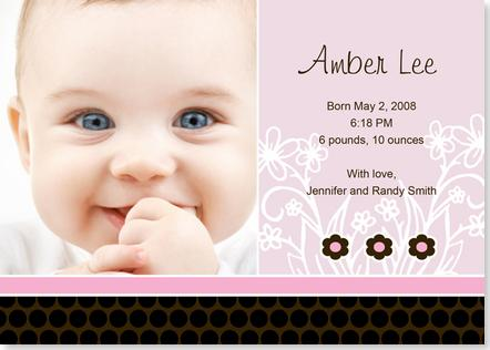 Cards On Baby Thank You Cards Brown Dots Baby Girl Birth Announcement