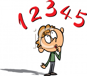 Cartoon Clipart Picture Of A Boy Thinking About Numbers