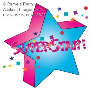 Clip Art Illustration Of 3d Star With Superstar Text
