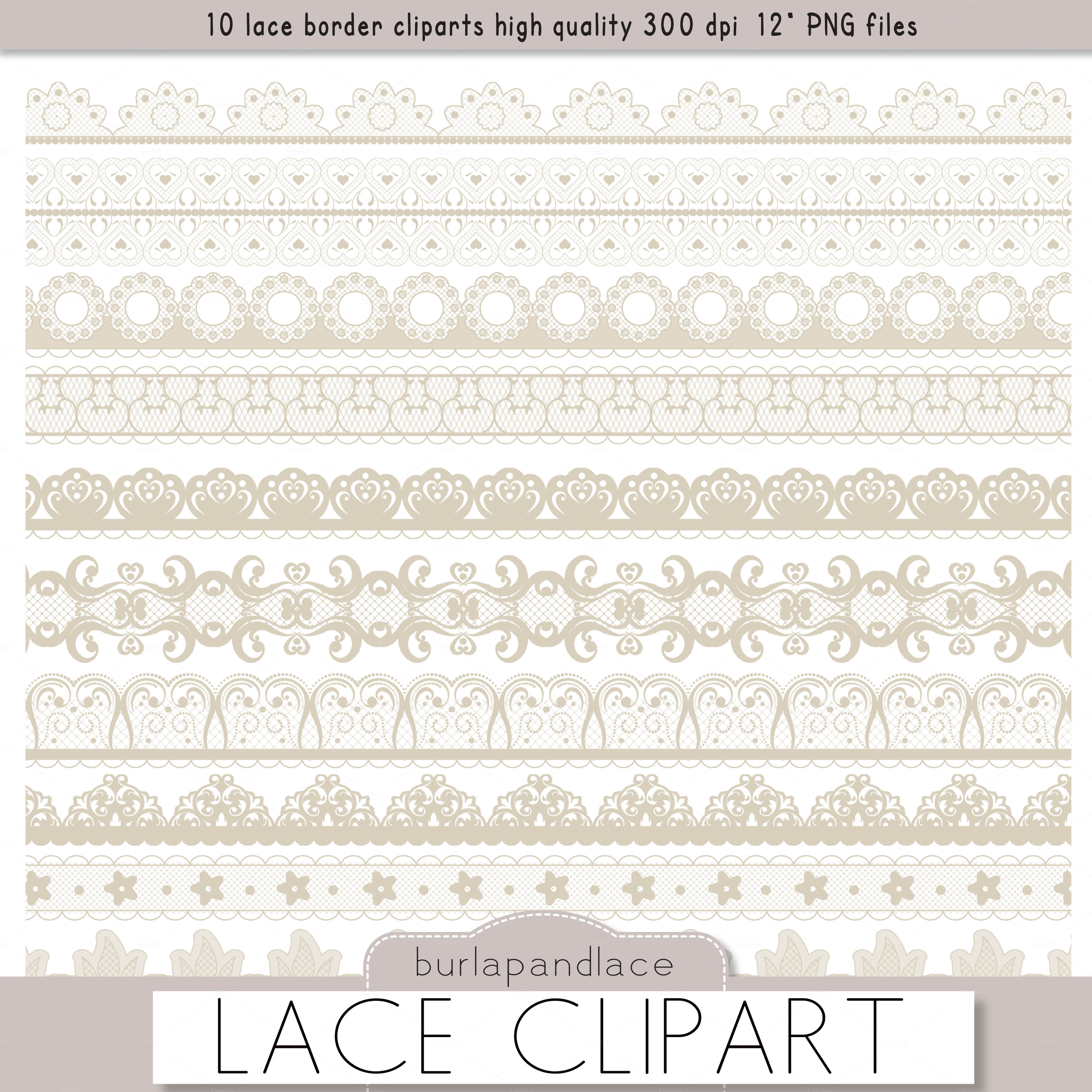 Clipart Beige Lace Borders   Illustrations On Creative Market
